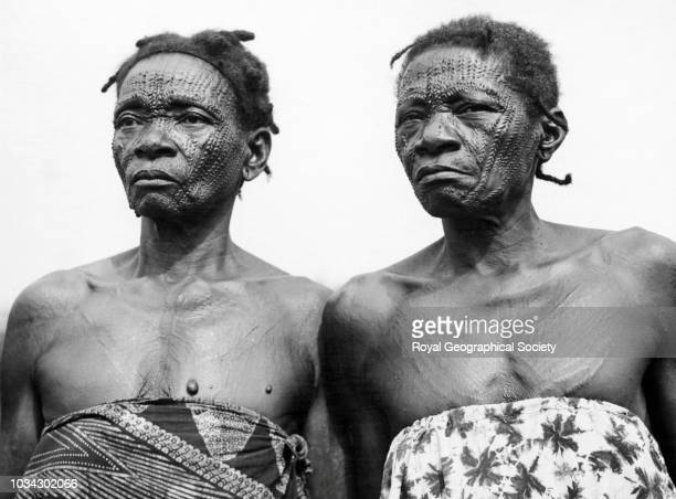 Gombe women showing tattoo marks According to a tradition today almost abandoned these two old Gombe women adorn their faces and bodies with tattoos...