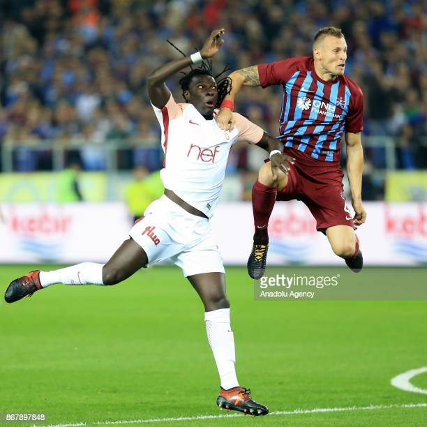 Gomis of Galatasaray in action against Jan Durica of Trabzonspor during a Turkish Super Lig match between Trabzonspor and Galatasaray at Medical Park...