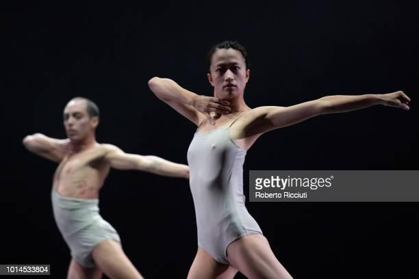 Gon Biran and Mariko Kakizaki of LEV Dance Company perform 'Love Cycle Love Chapter 2' on stage during a photocall for the Edinburgh International...