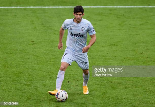 Gonçalo Guedes of Valencia CF in action during the La Liga Santander match between Athletic Club and Valencia CF at Estadio de San Mames on February...