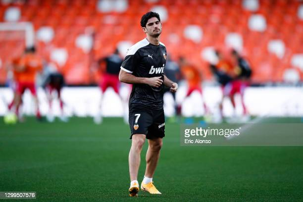 Gonçalo Guedes of Valencia CF warms up prior the La Liga Santander match between Valencia CF and Elche CF at Estadio Mestalla on January 30, 2021 in...