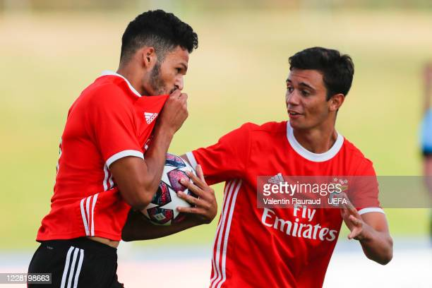 Gonçalo Ramos of SL Benfica celebrates with team-mate Henrique Araújo after scoring his side's first goal during the UEFA Youth League Final 2019/20...
