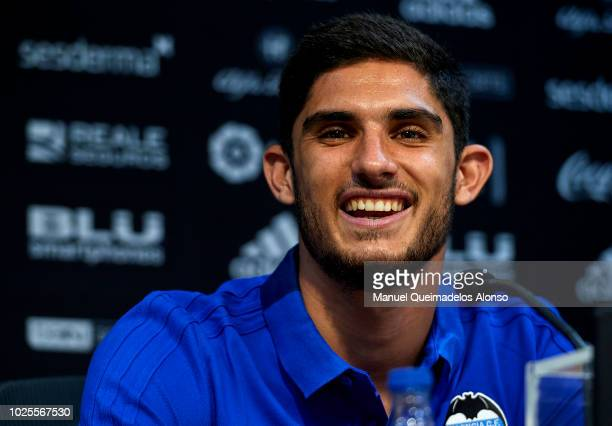 Goncalo Guedes faces the media during his presentation as a new player for Valencia CF at Paterna Training Centre on August 31 2018 in Valencia Spain