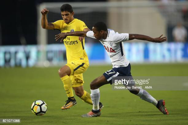 Goncalo Guedes of Paris SaintGermain and Kyle WalkerPeters of Tottenham Hotspur during the International Champions Cup match between Paris...