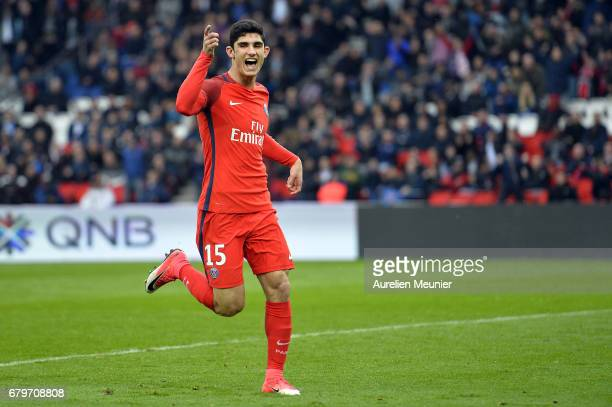 Goncalo Guedes of Paris SaintGermain reacts after Edinson Cavani scored during the Ligue 1 match between Paris SaintGermain and Bastia at Parc des...