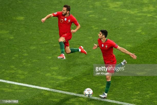Goncalo Guedes of Portugal celebrates after scoring his team's first goal during the UEFA Nations League Final between Portugal and the Netherlands...