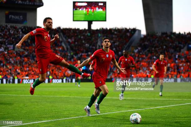 Goncalo Guedes of Portugal celebrates scoring the opening goal during the UEFA Nations League Final between Portugal and the Netherlands at Estadio...