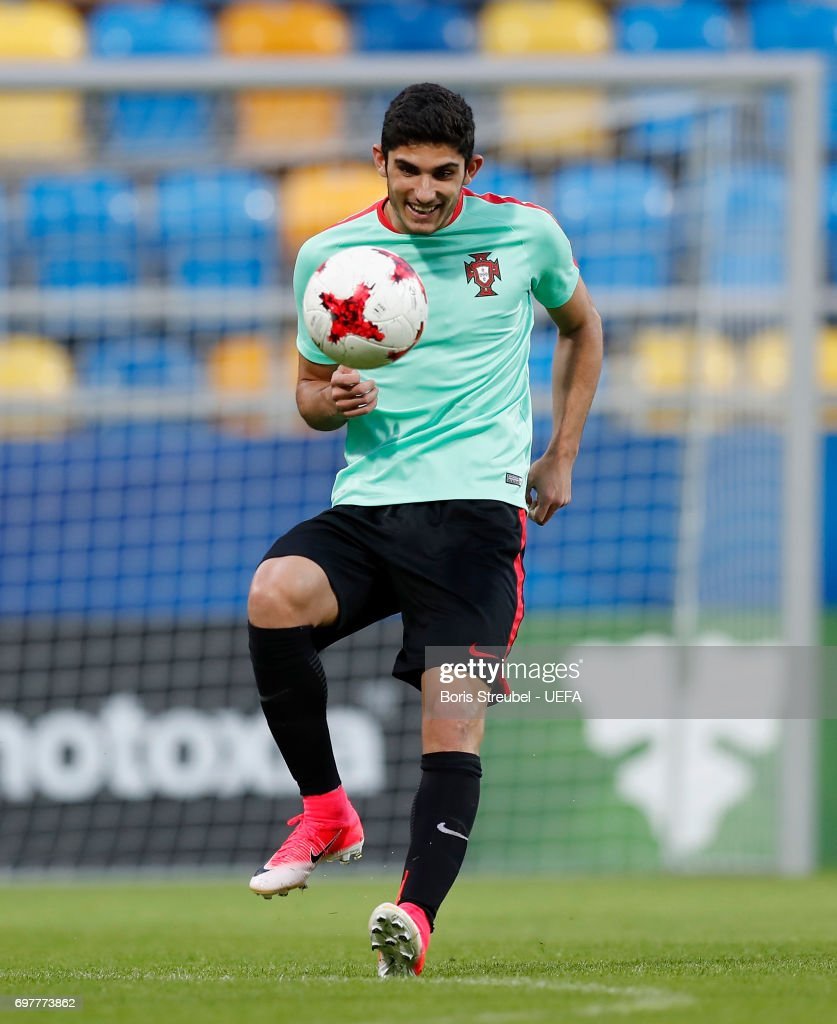 Goncalo Guedes of Portugal controls the ball during the MD-1 training session of the U21 national team of Portugal at Gdynia Sports Arena on June 19, 2017 in Gdynia, Poland.