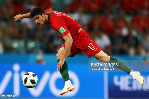 Goncalo Guedes of Portugal shoots on goal during the 2018 FIFA World Cup Russia group B match between Portugal and Spain at Fisht Stadium on June 15...