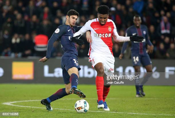 Goncalo Guedes of PSG and Jesus Nascimento Jemerson of Monaco in action during the French Ligue 1 match between Paris Saint Germain and AS Monaco at...