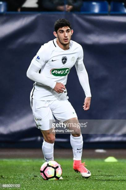 Goncalo Guedes of PSG during the French National Cup Quarter Final match between Us Avranches and Paris Saint Germain at Stade Michel D'Ornano on...