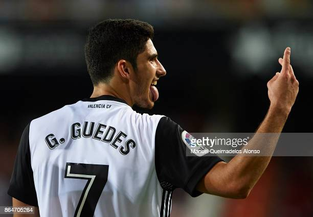 Goncalo Guedes of Valencia celebrates during the La Liga match between Valencia and Sevilla at Estadio Mestalla on October 21 2017 in Valencia Spain