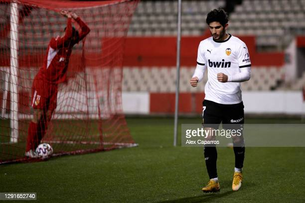 Goncalo Guedes of Valencia CF celebrates after scoring his team's fourth goal during the Copa del Rey first round match between Terrassa FC and...