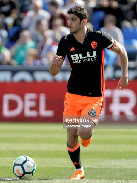 Goncalo Guedes of Valencia CF during the La Liga Santander match between Atletico Madrid v Deportivo la Coruna at the Estadio Wanda Metropolitano on...