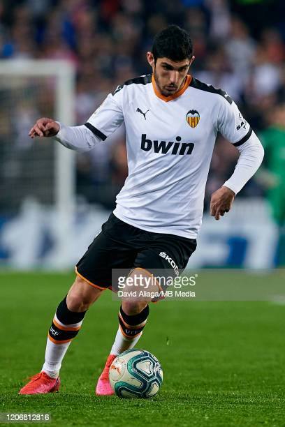 Goncalo Guedes of Valencia CF in action during the Liga match between Valencia CF and Club Atletico de Madrid at Estadio Mestalla on February 14 2020...