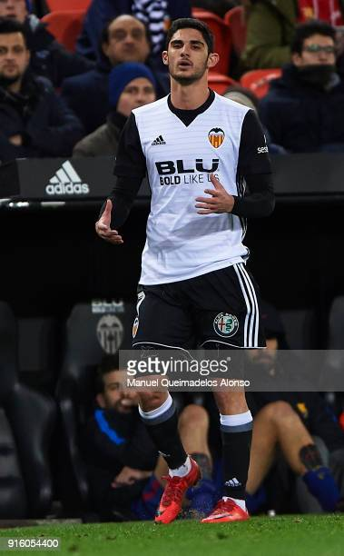 Goncalo Guedes of Valencia CF reacts during the Copa del Rey semifinal second leg match between Valencia and Barcelona on February 8 2018 in Valencia...