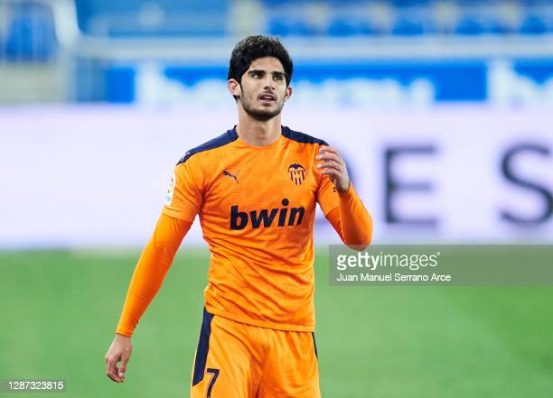 Goncalo Guedes of Valencia CF reacts during the LaLiga Santander match between Alaves and Valencia on November 22 2020 in VitoriaGasteiz Spain