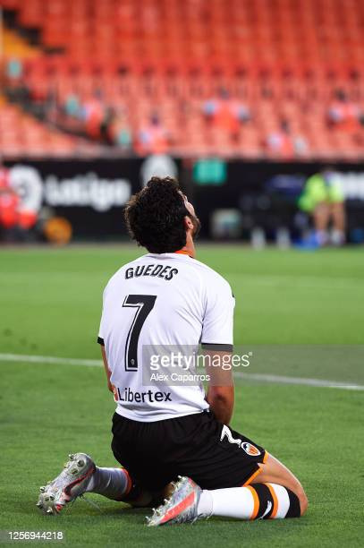 Goncalo Guedes of Valencia CF shows his dejection during the Liga match between Valencia CF and RCD Espanyol at Estadio Mestalla on July 16 2020 in...