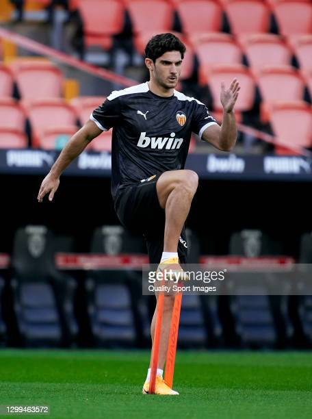 Goncalo Guedes of Valencia CF warms up during the La Liga Santander match between Valencia CF and Elche CF at Estadio Mestalla on January 30, 2021 in...