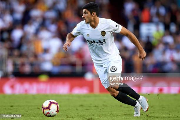 Goncalo Guedes of Valencia CF with the ball during the La Liga match between Valencia CF and Real Betis at Mestalla on September 15 2018 in Valencia...