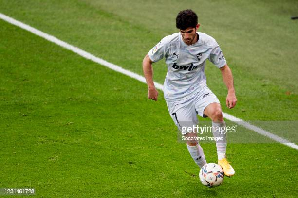 Goncalo Guedes of Valencia during the La Liga Santander match between Athletic de Bilbao v Valencia at the Estadio San Mames on February 7, 2021 in...