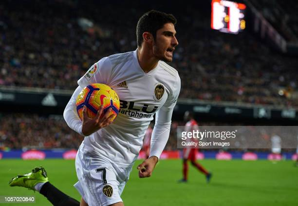 Goncalo Guedes of Valencia in action during the La Liga match between Valencia CF and Girona FC at Estadio Mestalla on November 3 2018 in Valencia...