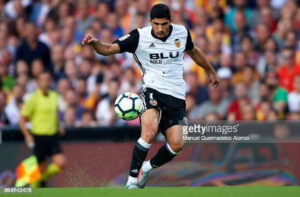Goncalo Guedes of Valencia in action during the La Liga match between Valencia and Sevilla at Estadio Mestalla on October 21 2017 in Valencia Spain