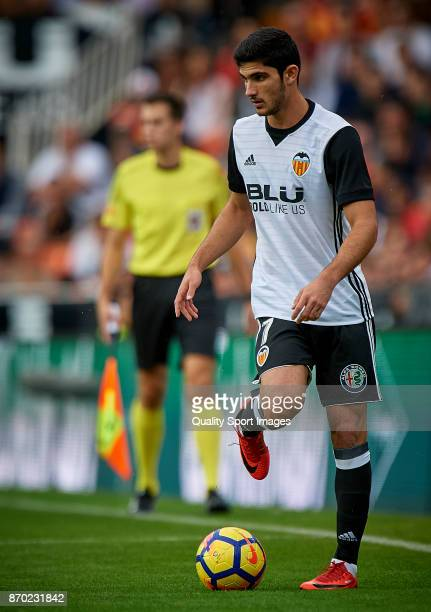 Goncalo Guedes of Valencia in action during the La Liga match between Valencia and Leganes at Mestalla Stadium on November 4 2017 in Valencia Spain