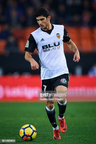 Goncalo Guedes of Valencia in action during the La Liga match between Valencia and Girona at Mestalla stadium on January 6 2018 in Valencia Spain