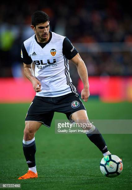Goncalo Guedes of Valencia in action during the La Liga match between Valencia and Real Betis at Mestalla Stadium on March 4 2018 in Valencia Spain