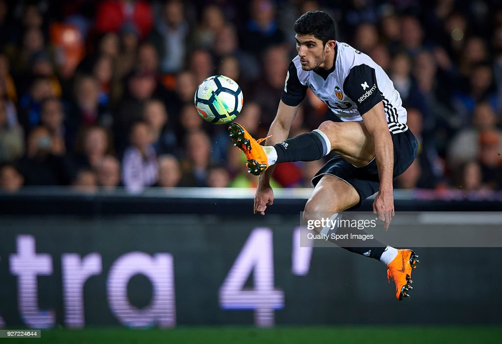Goncalo Guedes of Valencia in action during the La Liga match between Valencia and Real Betis at Mestalla Stadium on March 4, 2018 in Valencia, Spain.