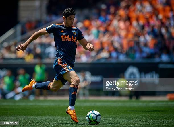 Goncalo Guedes of Valencia in action during the La Liga match between Valencia and Deportivo La Coruna at Mestalla Stadium on May 20 2018 in Valencia...