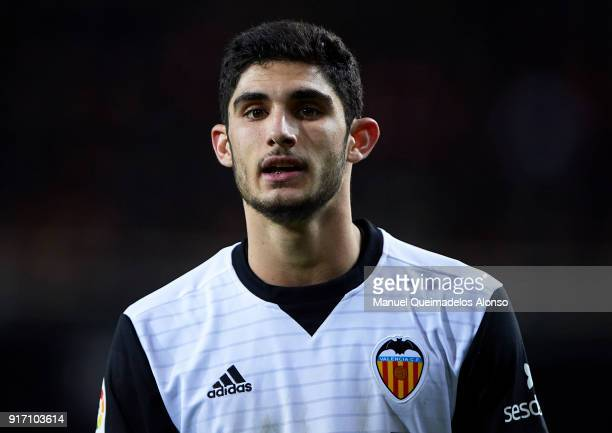 Goncalo Guedes of Valencia looks on during the La Liga match between Valencia and Levante at Mestalla Stadium on February 11 2018 in Valencia Spain