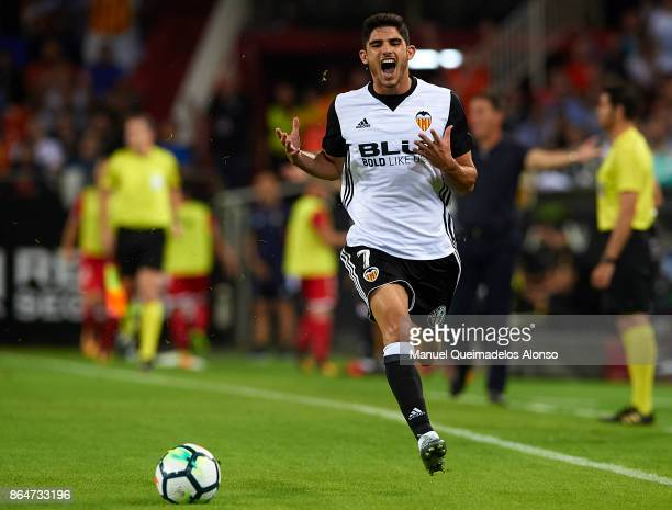 Goncalo Guedes of Valencia reacts during the La Liga match between Valencia and Sevilla at Estadio Mestalla on October 21 2017 in Valencia Spain