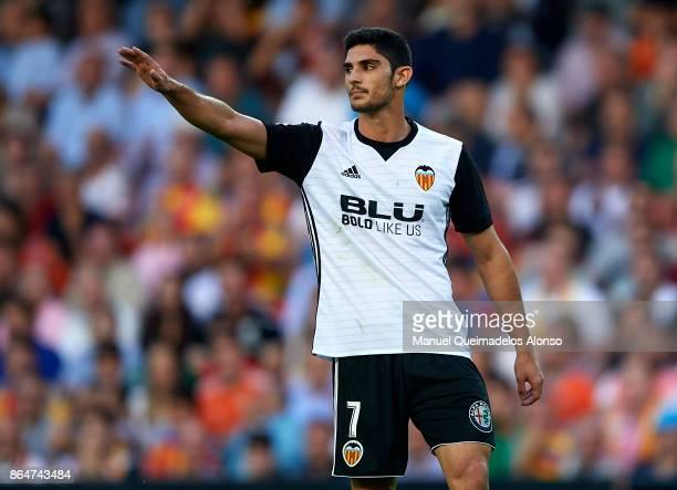 Goncalo Guedes of Valencia reacts during the La Liga match between Valencia and Sevilla at Estadio Mestalla on October 21 2017 in Valencia Spain