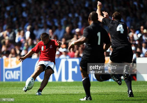 Goncalo Malheiro of Portugal kicks a drop goal during match fourteen of the Rugby World Cup 2007 between New Zealand and Portugal at the Gerland...