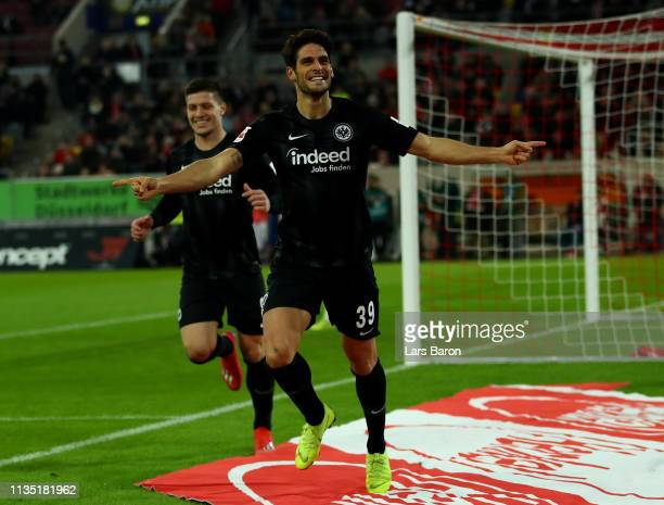 Goncalo Paciencia of Eintracht Frankfurt celebrates after he scores the opening goal 1during the Bundesliga match between Fortuna Duesseldorf and...