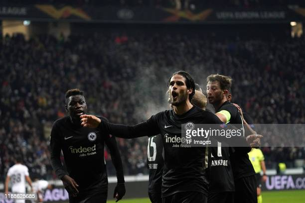 Goncalo Paciencia of Eintracht Frankfurt celebrates after scoring his team's second goal during the UEFA Europa League group F match between...