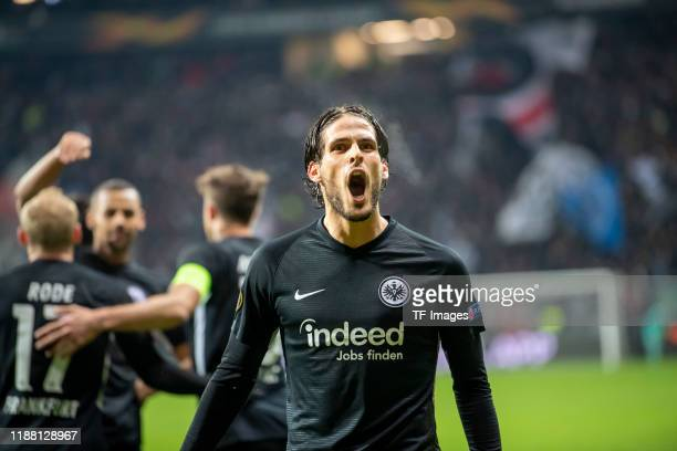 Goncalo Paciencia of Eintracht Frankfurtcelebrates during the UEFA Europa League group F match between Eintracht Frankfurt and Vitoria Guimaraes at...