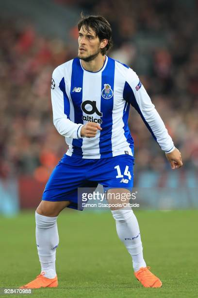 Goncalo Paciencia of Porto in action during the UEFA Champions League Round of 16 Second Leg match between Liverpool and FC Porto at Anfield on March...