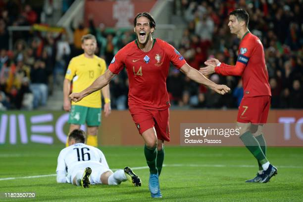 Goncalo Paciencia of Portugal celebrates after scores the fourth goal against Lithuania during the UEFA Euro 2020 Qualifier match between Portugal...