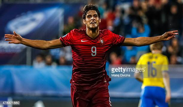 Goncalo Paciencia of Portugal celebrates his goal during UEFA U21 European Championship Group B match between Portugal and Sweden at Mestsky...
