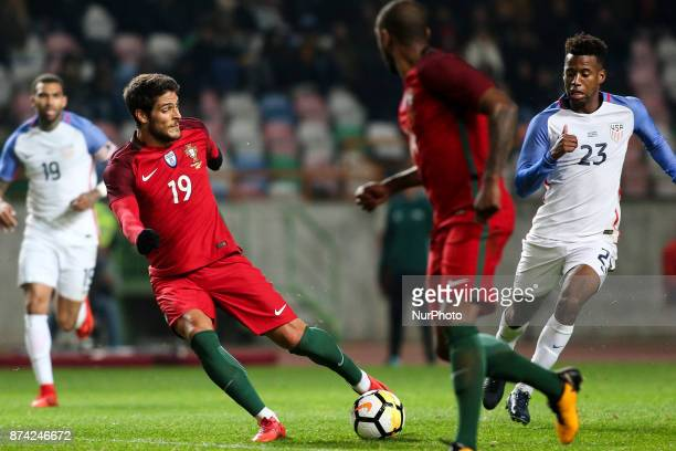 Goncalo Paciencia shoots the ball during the Friendly match football match between Portugal and USA at Municipal de Leiria Stadium in Leiria on...