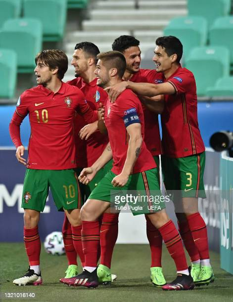 Goncalo Ramos of Portugal celebrates with team mates after scoring their side's third goal during the 2021 UEFA European Under-21 Championship...
