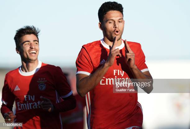 Goncalo Ramos of SL Benfica B celebrates after scoring a goal during the Liga Pro match between SL Benfica B and Casa Pia AC at Benfica Campus on...