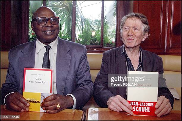 Goncourt And Renaudot Awards Ceremony On October 30Th 2000 In Paris France Ahmadou Kourouma And JeanJacques Schuhl At Flore Cafe