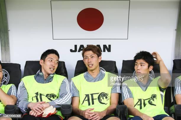 Gonda Shuichi Tomiyasu Takehiro and Higashiguchi Masaaki of Japan in action during the AFC Asian Cup Group F match between Japan and Uzbekistsn at...