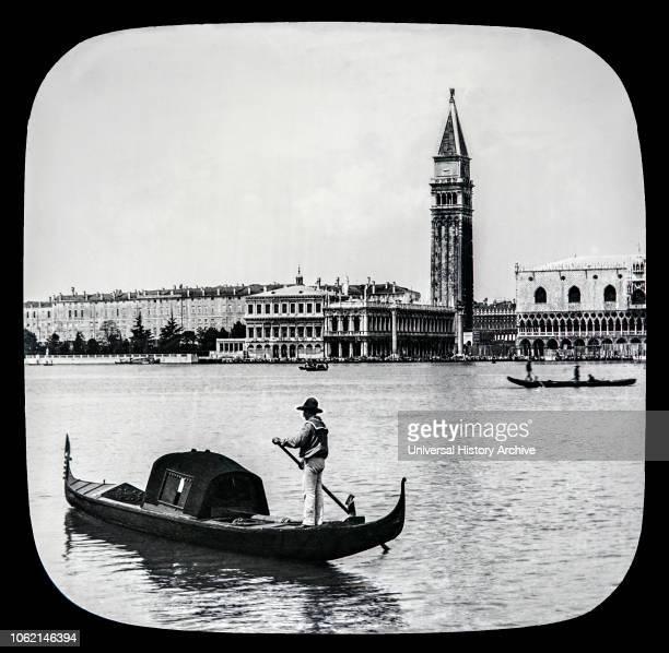 Gondola and S Georgia Maggiore from Piazzetta Venice circa 1900 on a magic lantern slide Photographed by Joseph John William in 1888 Venice Italy