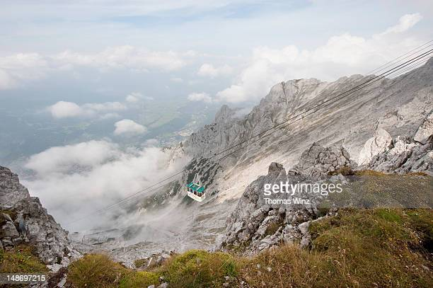 gondola at karwendel mountain, mittenwald. - karwendel mountains stock pictures, royalty-free photos & images