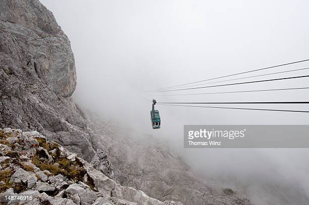 gondola at karwendel mountain, mittenwald. - mittenwald stock pictures, royalty-free photos & images